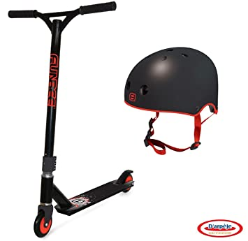 Funbee Stunt Scooter Patinete Freestyle ANTIDERRAPE con Casco, Infantil, niño