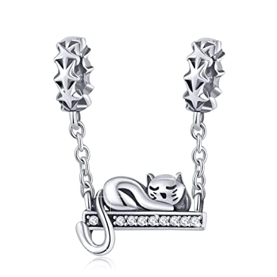 14be7aae15729 Amazon.com: BAMOER 925 Sterling Silver Cat Dangle Charms Cat Pendant ...