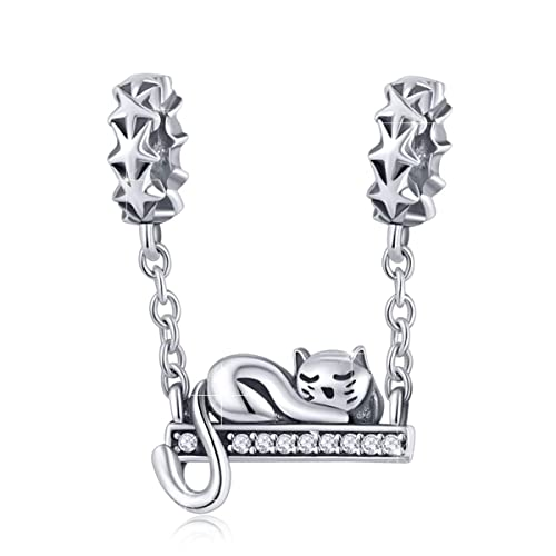 3d214307f BAMOER 925 Sterling Silver Cat Dangle Charms Cat Pendant for Snake Chain  Bracelet Necklaces