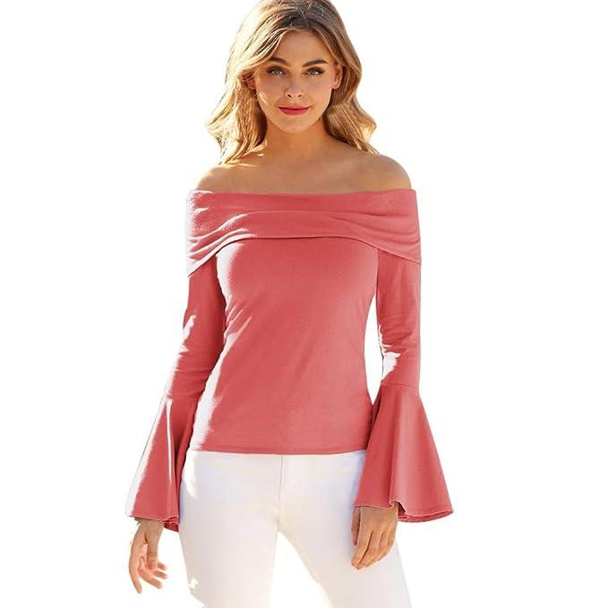 Longra❤Personalizado para España Mujeres Casual Off The Shoulder Tops Camiseta manga larga campana Tee Blusa de Mujer Elegantes: Amazon.es: Alimentación y ...