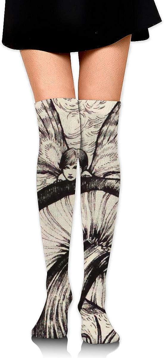 Mushroom Black And White Womens Socks Thigh High Socks Over The Knee Socks Long Socks