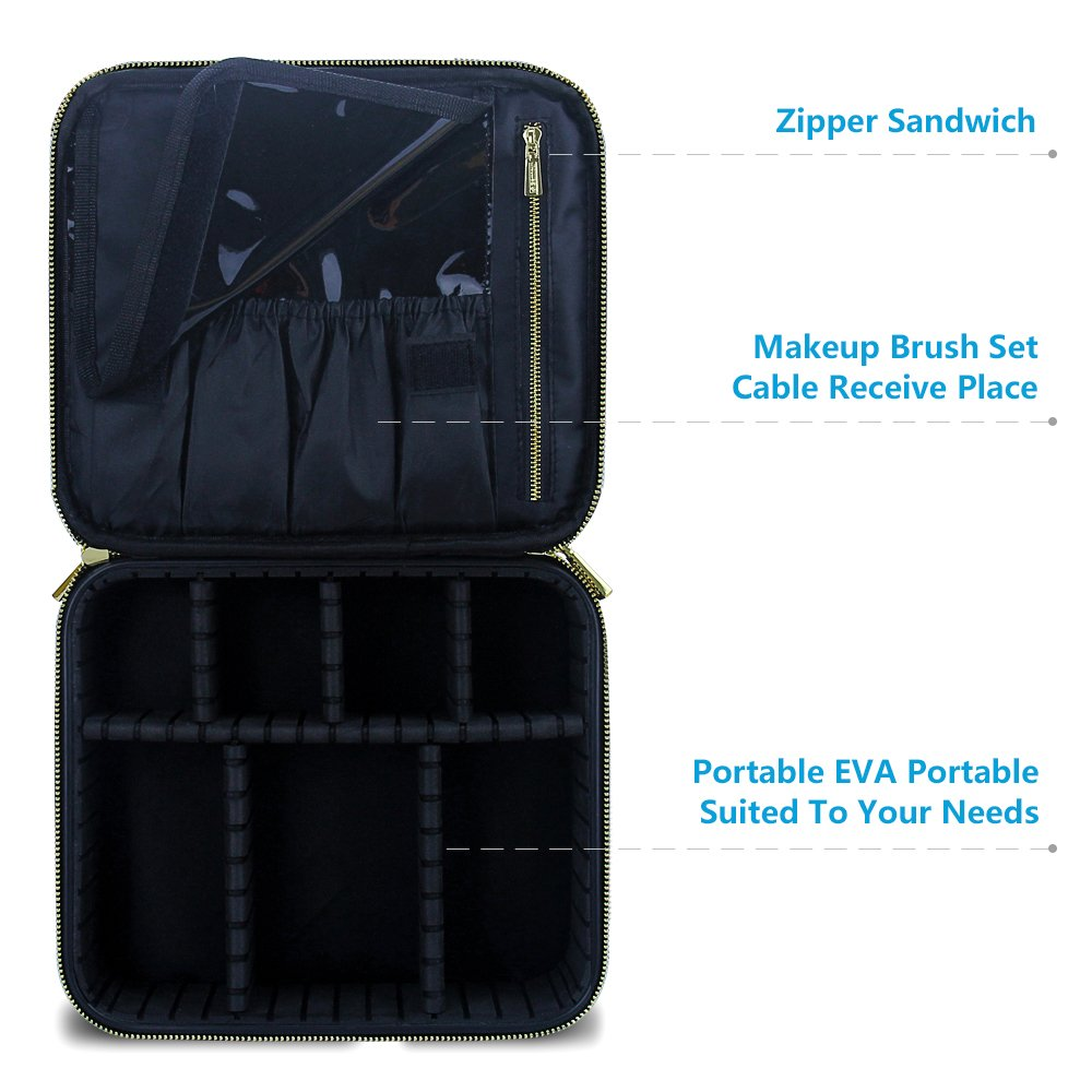 Travel Makeup Case,Samtour- Professional Cosmetic Makeup Bag Organizer,Accessories Case, Tools case (Black-M) by Chomeiu (Image #5)