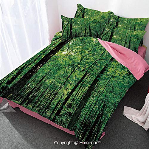 Homenon Nature Girl's Room Duvet Cover Set Twin Size,Woodland Tree Forest Jungle in Sunny Day Mother Earth Enviro,Decorative 3 Piece Bedding Set with 2 Pillow Shams Fern Green Seal Brown