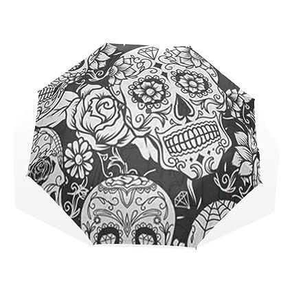 c996e6c698c7 Amazon.com: HangWang Umbrella Black and White Skull Pumpkin Travel ...