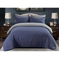 MMM King size Bedsheet 6pcs One Set High Cotton Quality Bedding Set Duvet Cover (Blue&gray)