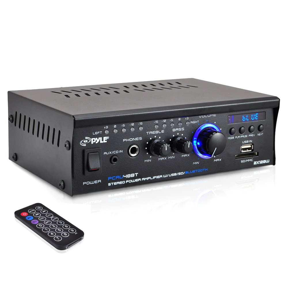Bluetooth Mini Stereo Power Amplifier - 2x120W Dual Channel Sound Audio Receiver Entertainment w/Remote, for Amplified Speakers, CD DVD, MP3, Theater via 3.5mm RCA Input, Studio Use - Pyle PCAU48BT