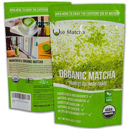 Matcha Green Tea Powder Organic - USDA - 4 oz - 50%-50% Mix of Ceremonial and Culinary Japanese Matcha