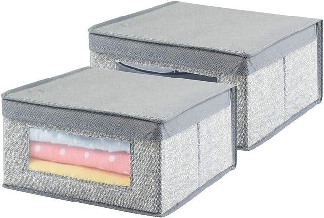mDesign Cajas almacenaje Juego de 2 - Cajas almacenaje Ropa, Toallas, sábanas - Ideales Cajas organizadoras para un Orden óptimo - Color: Gris: Amazon.es: Hogar