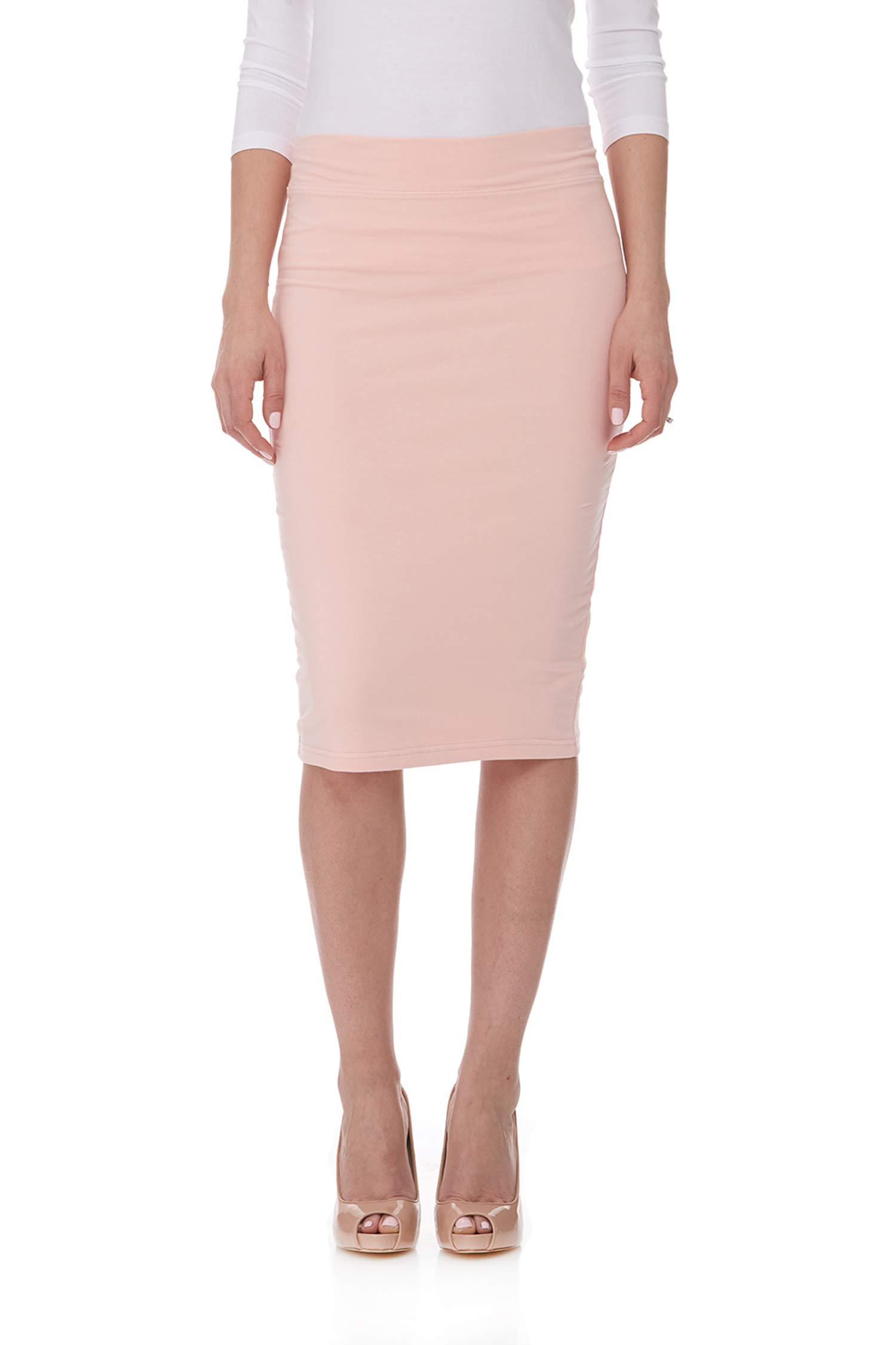 ESTEEZ Women's Cotton Pencil Skirt - Modest Below Knee Length- Opaque - Chicago