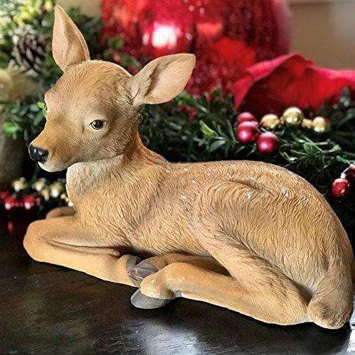 Bambi Sculpture - Buttercup The Fawn, The New Born Deer, Ultra-realistic Outdoor Garden Statue,11 ¾ L x 6 ¼ W x 8 ¼ H Inches, By Whole House Worlds