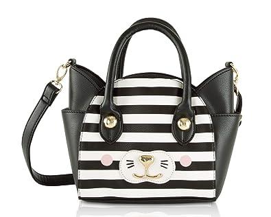 1da426705 Luv Betsey Johnson Katt Cat Face Small Satchel Crossbody Handbag -  Black/White Stripe