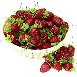 Gresorth 30pcs Artificial Lifelike Simulation Small Dard Red Strawberry Set Decoration Fake Fruit Home House Kitchen Decor 65