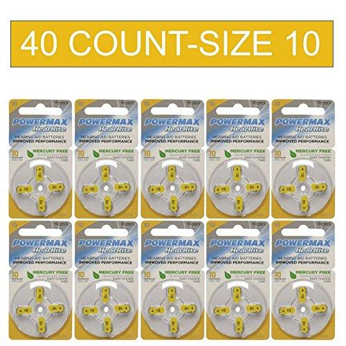 Powermax Size 10 Hearing Aid Batteries, Yellow Tab, Zinc Air Mercury-Free, HearRite, 40 Count ()
