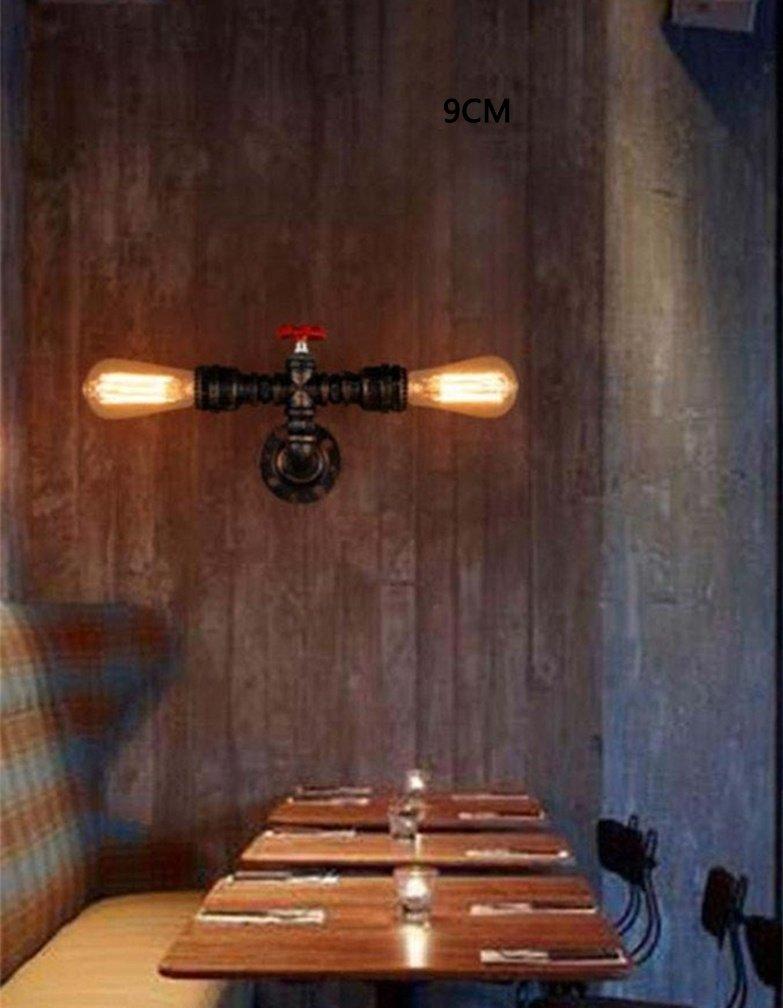 L/ámpara de pared de tubo de agua retro de dise/ño industrial vintage L/ámpara de noche metal metal Iluminaci/ón de interior Sala de estar de luz Cocina Restaurante Pasillo balc/ón Loft E27 A