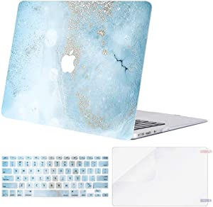 MOSISO Compatible with MacBook Air 13 inch Case (Models: A1369 & A1466, Older Version 2010-2017 Release), Plastic Pattern Hard Shell Case & Keyboard Cover & Screen Protector, Mint Blue Marble