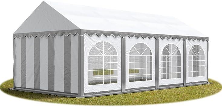 TOOLPORT Carpa de Fiesta 4x8 m Lona PVC Aprox. 500g/m² 100% Impermeable con Estructura de Suelo Blanco grisáceo: Amazon.es: Jardín