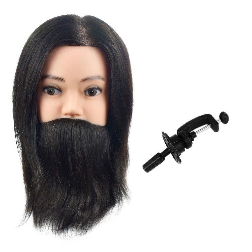 100% capelli umani veri maschio di manichino manichino testa con barba per barbiere parrucchieri per allenamento e pratica MIAOMANZI