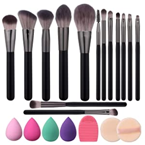 Elisel Makeup Brush Set, 14 Pcs Makeup Brushes with 4 Makeup Sponge Blender 2 Makeup Powder Puff 1 silicone brush cleaner Make Up Brushes Kit (Black 14)