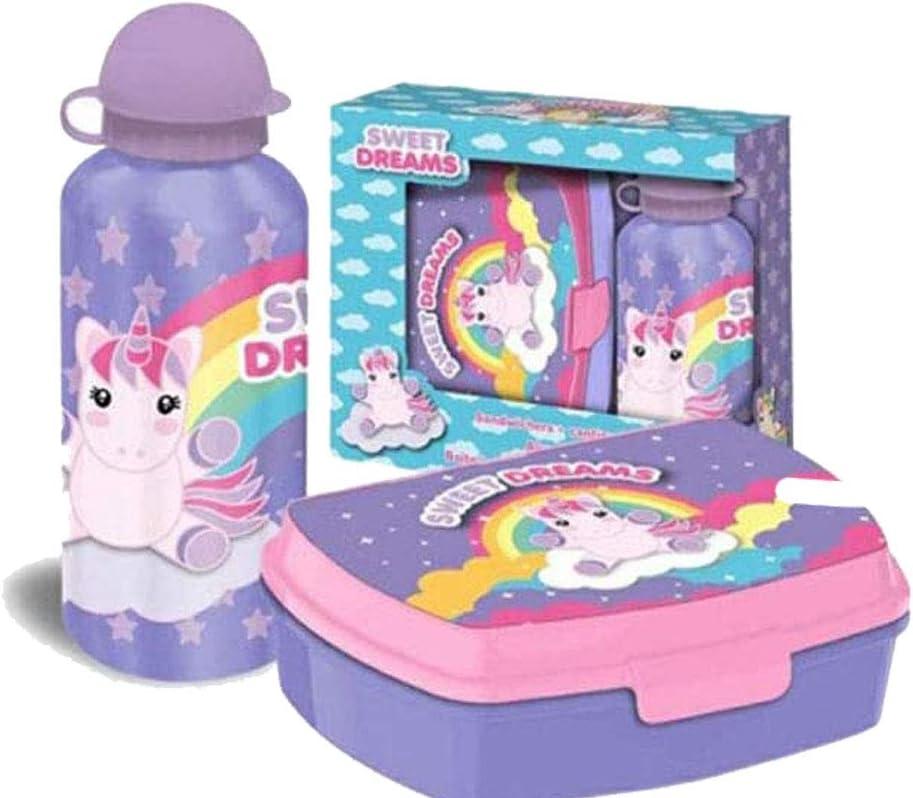 Kids Set sandwichera y cantimplora de Colección Unicornios 'Sweet Dreams, Adultos Unisex, Multicolor, Talla Única