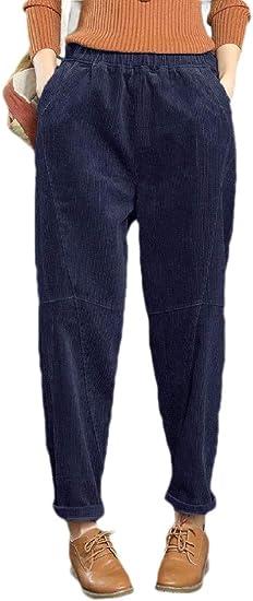 AngelSpace Women Harem Pants Lounge Corduroy Retro Wide Leg Pants with Pockets