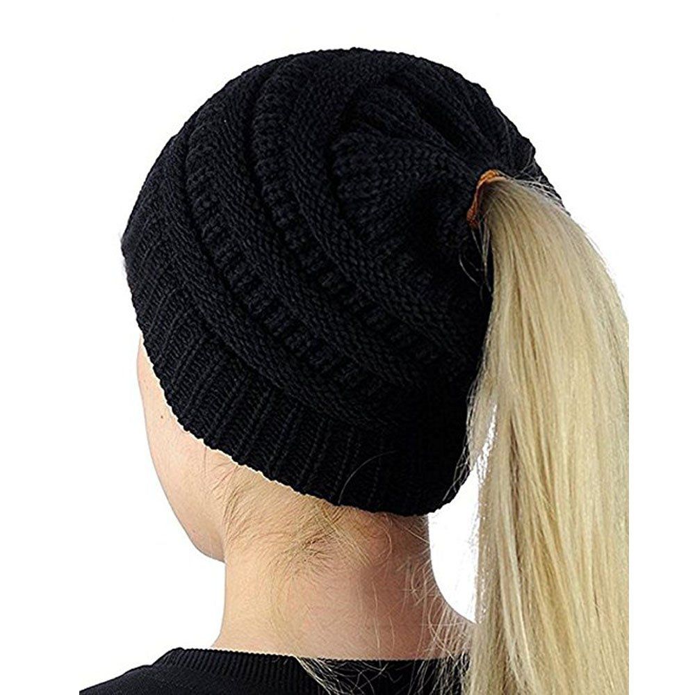 GUGER BeanieTail Soft Stretch Cable Knit Messy High Bun Ponytail Hat-10 Colors (Black)