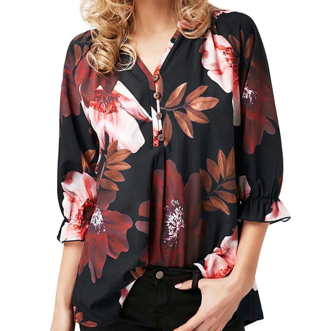 Taglie Forti Donna Maglietta Camicia Moda Casuale Canotte Elegante Camicetta Stampa Floreale Blouse Pullover