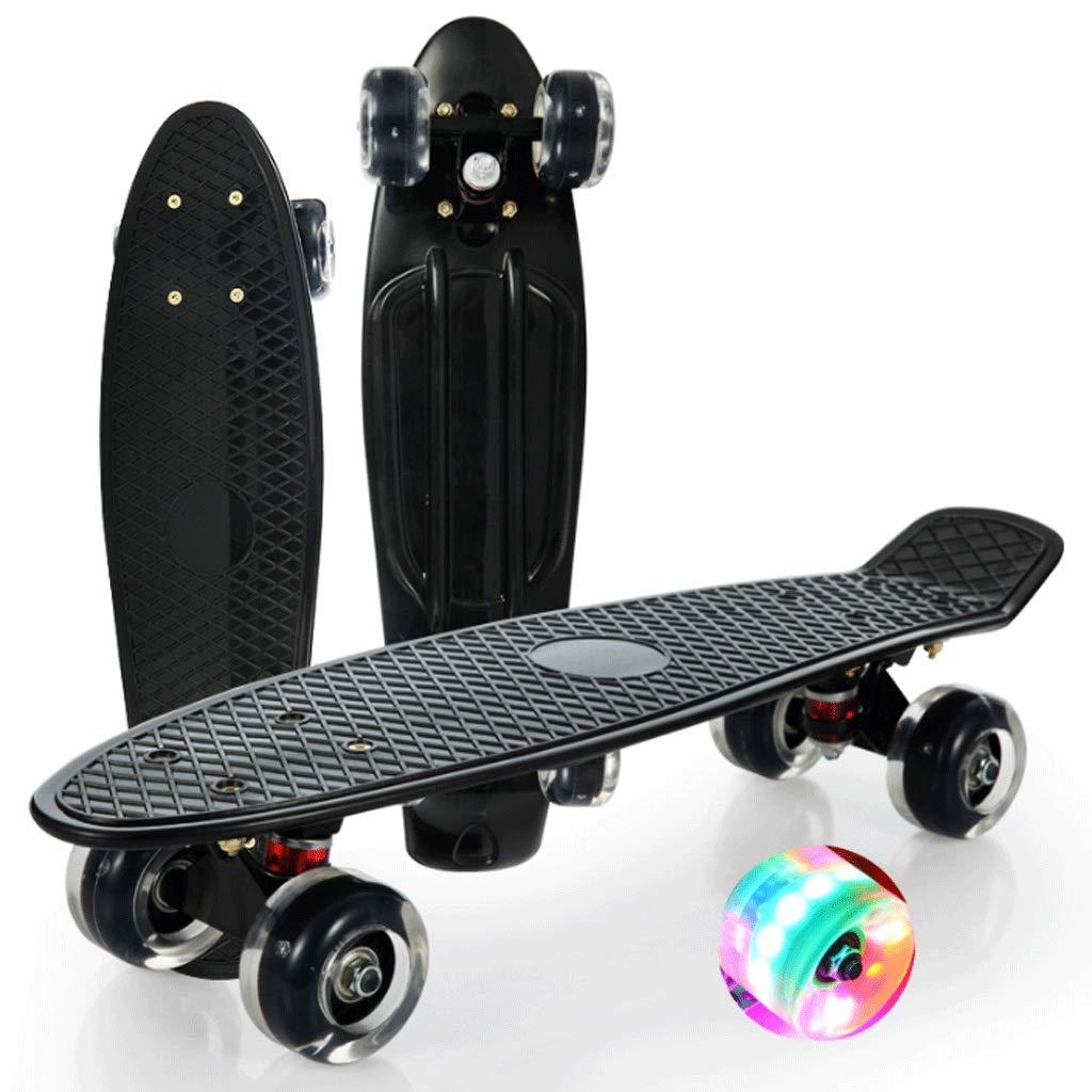 最安価格 WangYi スケートボード- スケートボード点滅ビッグホイールブラシストリートシングルフィッシュボード子供大人4輪スケートボード (色 : 黒, 56X15X10cm サイズ さいず : : : 56X15X10cm) B07NQ2V3YM 黒 56X15X10cm, 工具専門店 BeDream:719acf26 --- a0267596.xsph.ru