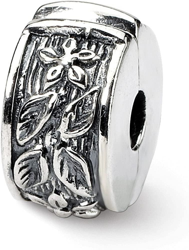 Beautiful Sterling silver 925 sterling Sterling Silver Reflections Hinged Floral Clip Bead