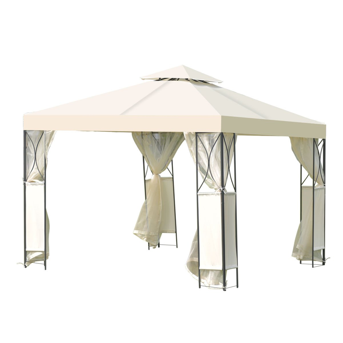 2-Tier 10'x10' Gazebo Canopy Tent Shelter Awning Steel Patio Garden Beige Cover + FREE E-Book