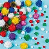 Glitzer-Pompons in verschiedenen Farben zum Basteln von Figuren, Dekorationen & Bastelarbeiten für Kinder (100 Stück)