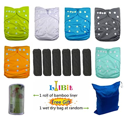 Lilbit pañales reutilizable gamuza de bolsillo, 6 pc + 6 pcs carbón de bambú Insertos