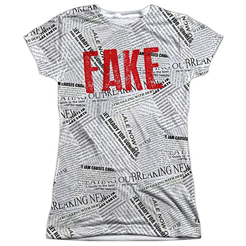 Fake News Halloween Costume Donald Trump Junior's T Shirt (Medium) White