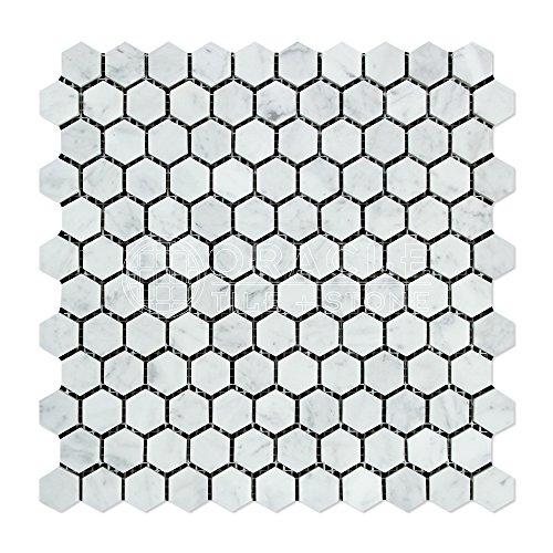 carrara-white-italian-bianco-carrara-marble-1-inch-hexagon-mosaic-tile-polished