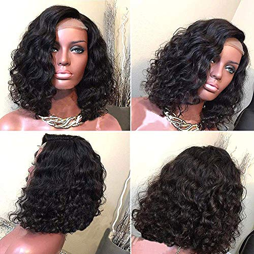 Wigs for Black Women Pre-pluck Glueless Brazilian Virgin Short Bob Human Hair Wigs 150% Density Curly Hair Full Lace Wigs Natural Hairline with Baby Hair Free Part (10 Inch) ()