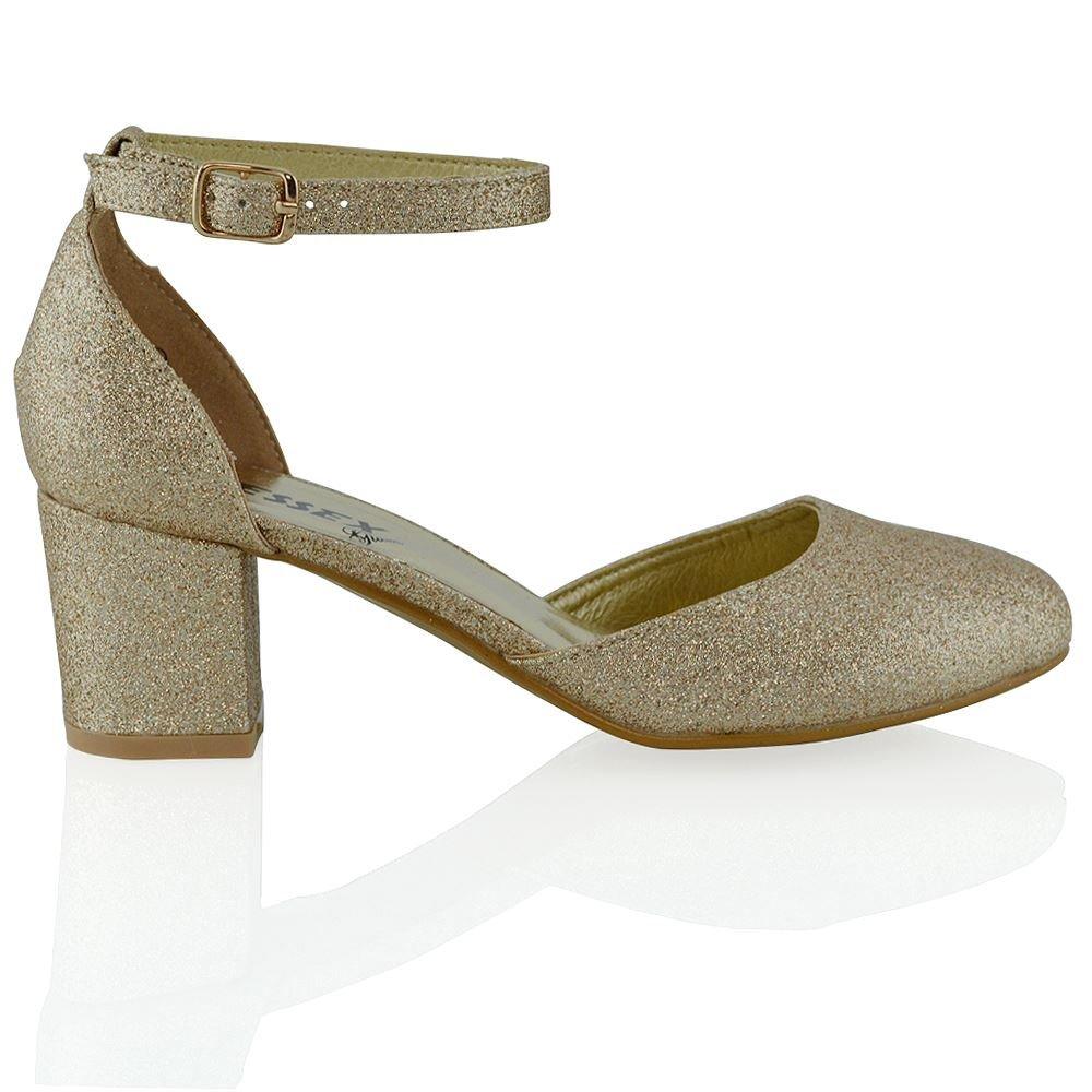 ESSEX GLAM Niedrige absatz mit schnallen syntetische sandalen