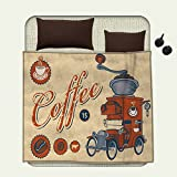 smallbeefly Retro wearable blanket Artsy Commercial Design of Vintage Truck with Coffee Grinder Old Fashionedsecurity blanket Cream Orange Grey