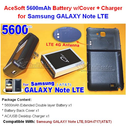 AceSoft 5600mAh Extended life battery w Hard Back Cover Door AC/USB Travel Dock Wall Home Desktop Charger For Samsung GALAXY Note LTE SGH-I717 I717 I 717 AT&T Cell Phone USA