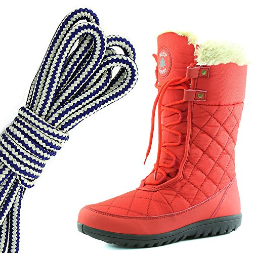 DailyShoes Womens Comfort Round Toe Mid Calf Flat Ankle High Eskimo Winter Fur Snow Boots, Navy Blue White Red