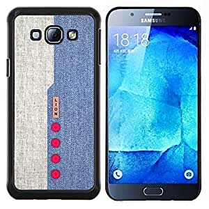 "Be-Star Único Patrón Plástico Duro Fundas Cover Cubre Hard Case Cover Para Samsung Galaxy A8 / SM-A800 ( Diseño Denim Blue Red Buttons tela de materia textil"" )"