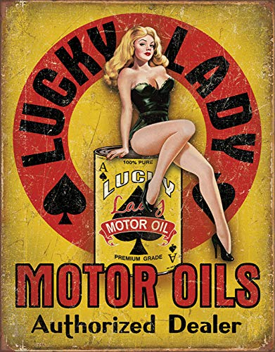 Desperate Enterprises Lucky Lady Motor Oil Tin Sign, 12.5