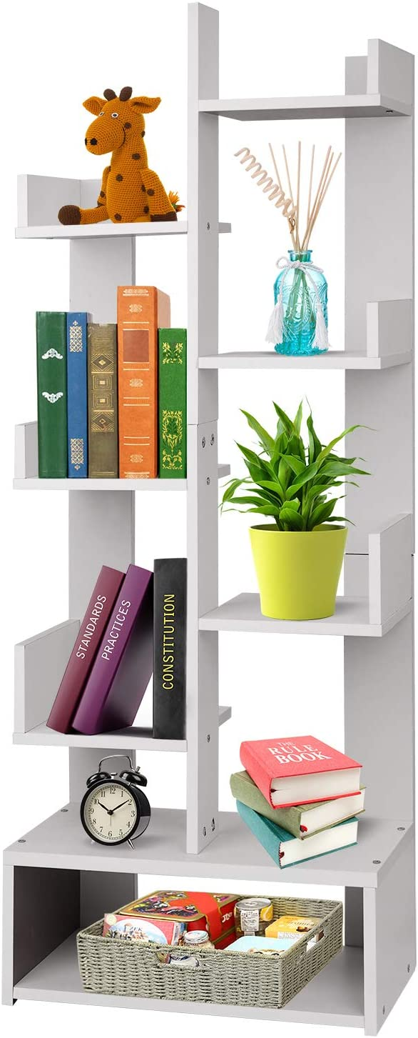 White Storage Bookcase Bookshelf Wooden 8-Tier Display Shelf Organiser Rack Free Standing Shelves for Home Office Cabinet