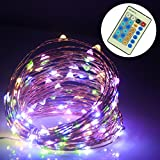 ALED LIGHT® 20M/200 Led Waterproof Outdoor String Lights Flexible Dimmable Copper Wire Lights Starry Twinkle String Lights with Power Adapter Remote Control for Garden, Room, Wedding and Party (RGB)