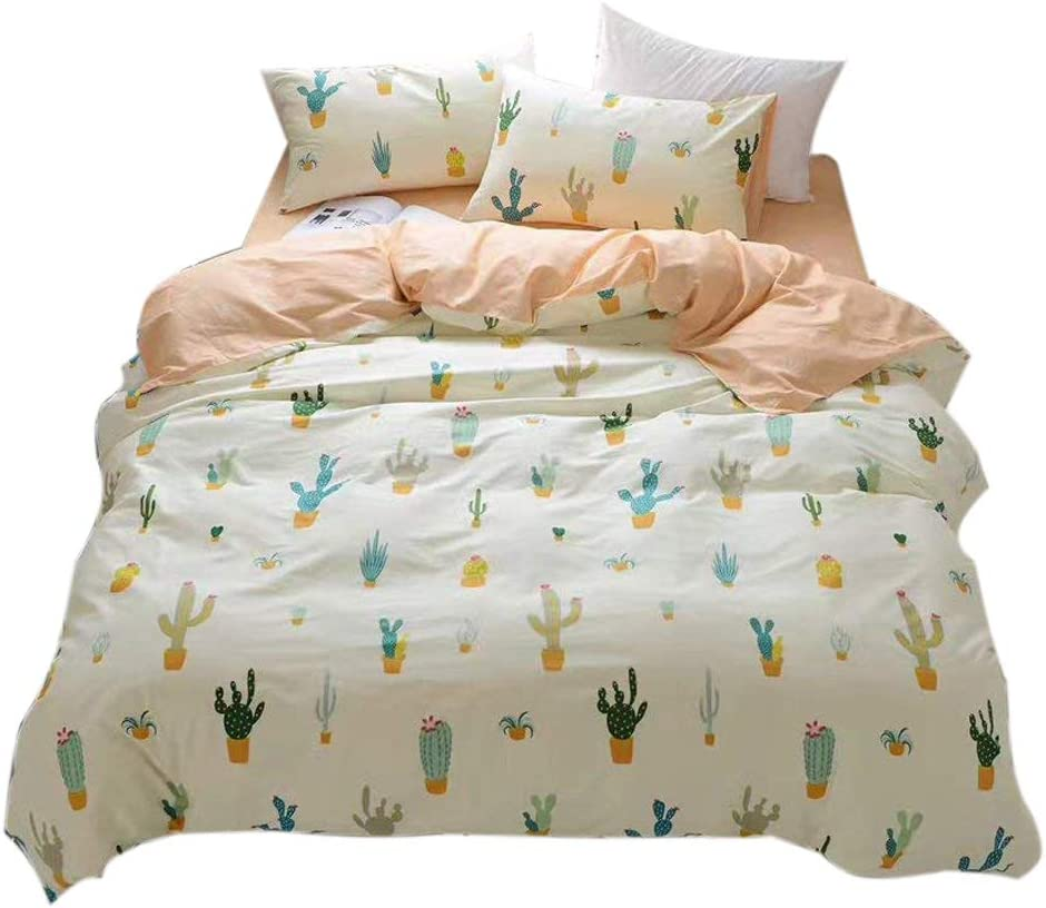 FenDie Potted Plants Bedding Twin 3 Piece Set for Kids Girls Cactus Printed Duvet Cover Set Cotton, Pale Yellow for Home Decor