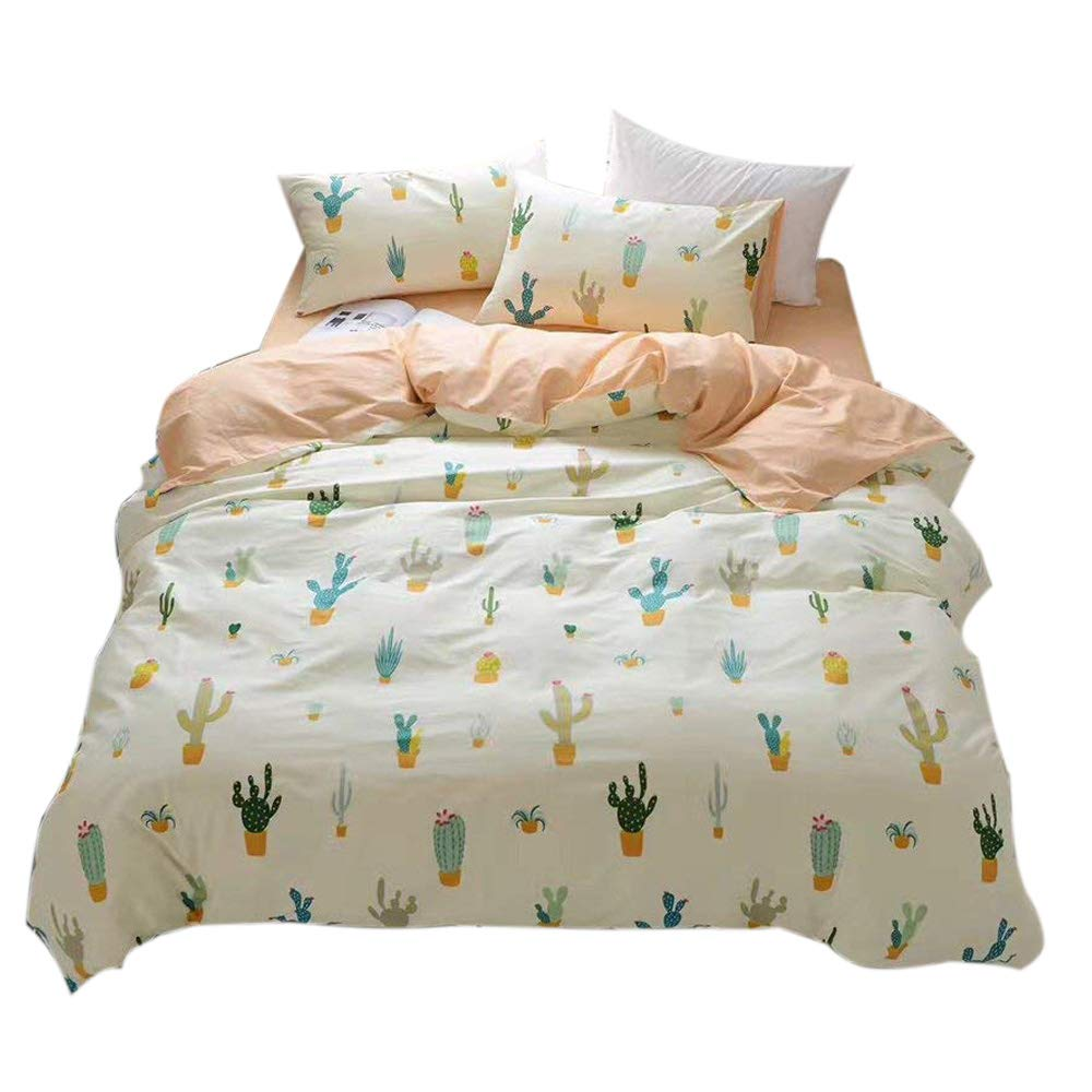 FenDie Potted Plants Bedding Queen Set 3 Piece Cactus Printed Duvet Cover Set Cotton,Pale Yellow for Teens Girls