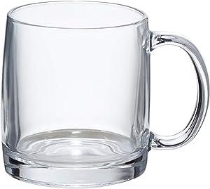 AmazonBasics Glass Coffee Mug, 13-Ounce, Set of 6