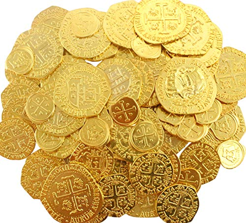 64 Metal Pirate Coins Treasure Large Replica Doubloon Zinc Pirate Party Game Decoration Token Supplies by Well Pack Box