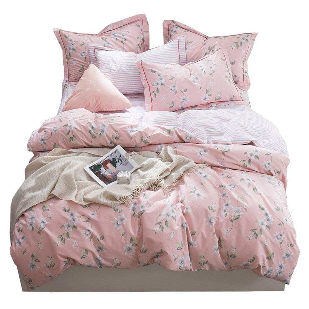 Amazoncom Bhusb Cotton Pink Floral Bedding Duvet Cover Twin For