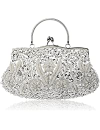 Beaded Sequin Design Flower Evening Purse Large Clutch Bag