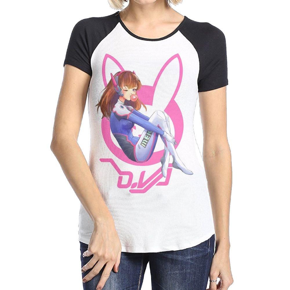 Loyd D Women's Overwatch Dva Bunny Short Sleeve Raglan Baseball T-Shirt Black