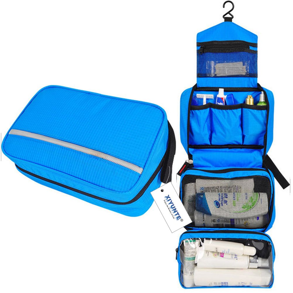 Hanging Toiletry Bag Waterproof - Small Travel Foldable Wash Bag for Men, Women Makeup Bag with 4 Compartments, High Quality Zipper Cosmetic Bags VC010